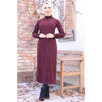 Burgundy Color Gipe Fabric Turtleneck Dress