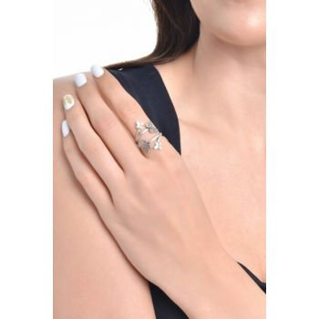 Women Antique Silver Plated Zircon Butterfly Ring LBKDNAGKYZK7160340