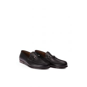 Genuine Leather Black Buckle Men Loafer 01649MSYHC01