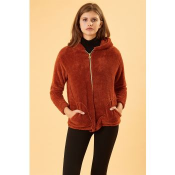Hooded Front Zip Tile Color Plush Coat