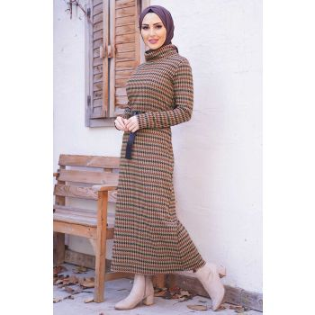 Degaje Collar Patterned Taba Dress