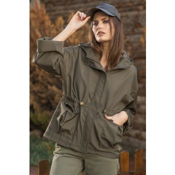 Hooded Waist Pleated Khaki Colored Trench Coat
