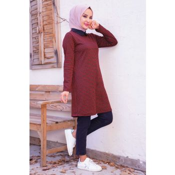 Square Pattern Shirt Collar Tunic
