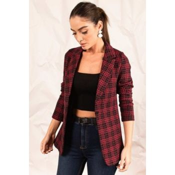 Women Burgundy Stamp Single Button Plaid Jacket ARM-19K001131