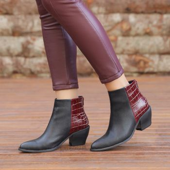 Iceland Maroon Crocodile Pointed Toe Boots