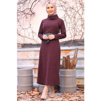 Burgundy Color Striped Turtleneck Dress