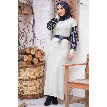 Sleeve Plaid Pattern Arched Stone Sweater Dress