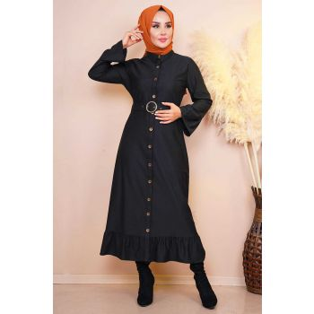 Waist Belted Pleated Sleeve Black Dress