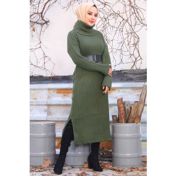 A Line Pattern Turtleneck Khaki Sweater Dress