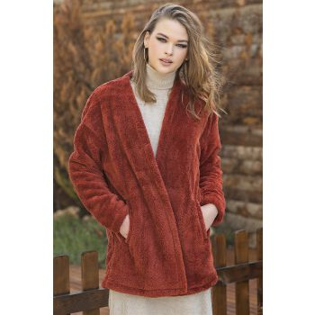Front Buttonless Tile Color Plush Cardigan