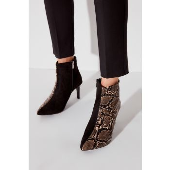 Black Suede Snake Patterned Women Boots & Bootie TAKAW20BO0166