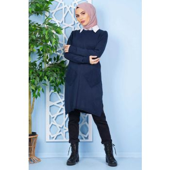 Navy Blue Knitwear Tunic with Cross Pockets