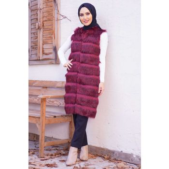 Plush Floor Coat Burgundy Vest
