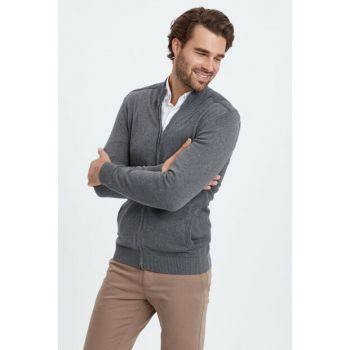 Men's Gray Melange Cardigan 8W1841Z8