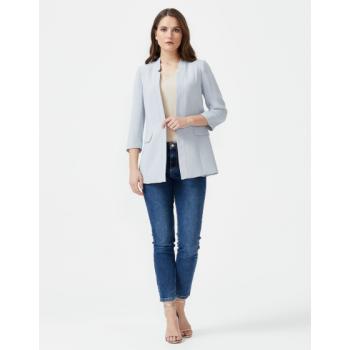 SEÇIL FLAT COLLAR HALF SLEEVE JACKET - GRAY