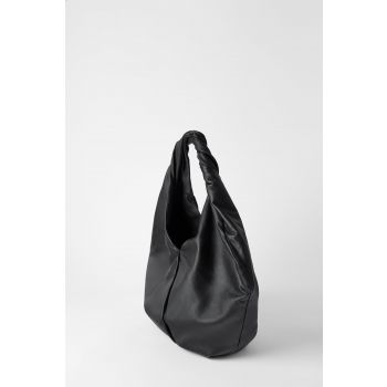 LEATHER OVAL TOTE BAG