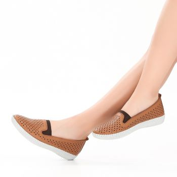 Foljet Taba Color Genuine Leather Flats