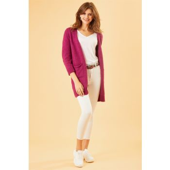 Basic Long Fuchsia Sweater Cardigan