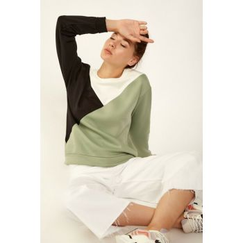 Women Khaki Three Color Block Sweatshirt 2884BGD19_004