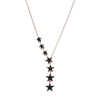 Women's 925 Sterling Silver 7 Star Necklace - Rose KL-0410