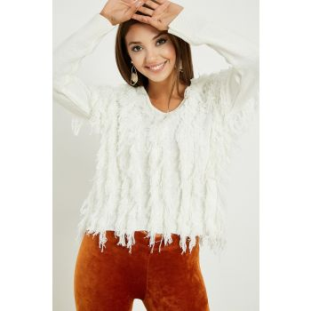 V Neck Tassel Sweater - WHITE 20KTR569K108