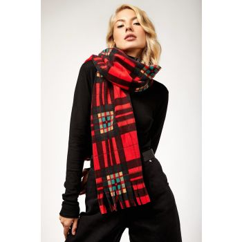Women's Plaid Red Fleece Scarf 310BGD19_121