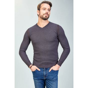 Men's V Neck Long Sleeve Sweater Coffee-A82Y5066-07