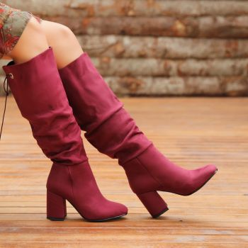 Rangapur Suede Plum Color Thick Heels Over The Knee Boots