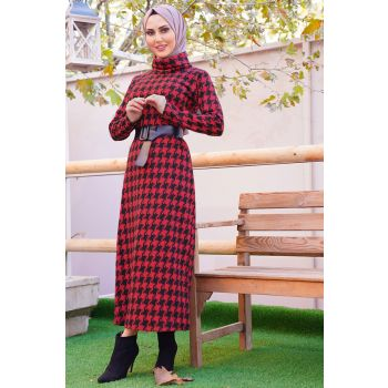 Red Color Plaid Pattern Degaje Neckline Belted Dress