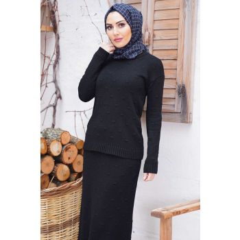 Embossed Pattern Round Neck Black Sweater Double Set