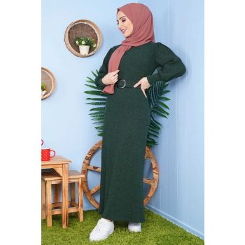 Emerald Green Tricot Dress with Belt