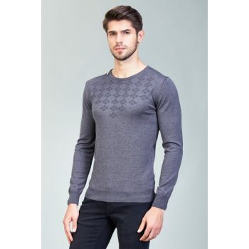 Men Anthracite O Neck Sweater - A82Y5075