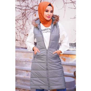 Gray Long Inflatable Vest With Hoodie Hairy