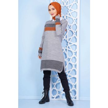 Horizontal Striped Goose Leg Pattern Gray Knitwear Tunic