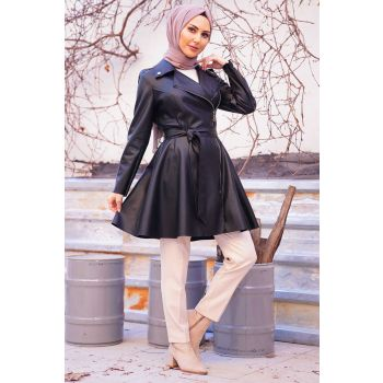 Black Color Waist Belted Zipper Leather Coat