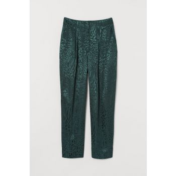 High Waisted Trousers Dark green / Leopard print