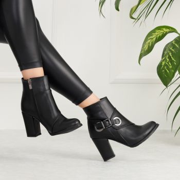 Evinora Black Thick Heeled Boots