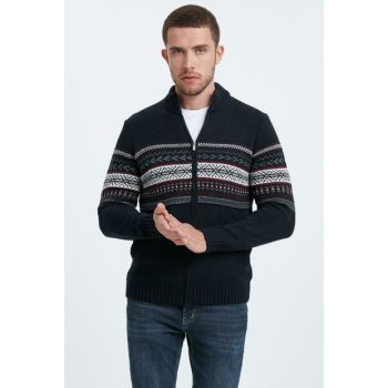 Men's Navy Blue Thick Cardigan 8W0814Z8