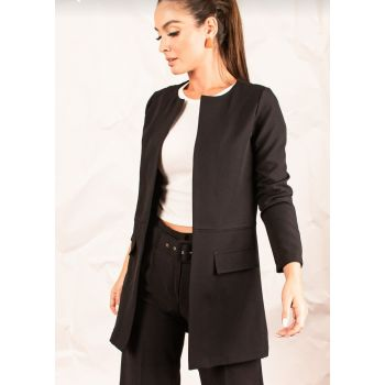 Women Emerald Waist Stitched Long Black Jacket ARM-20K001021