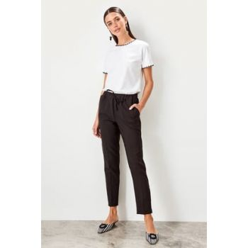 Black Binding Detailed Trousers TWOSS19ST0212