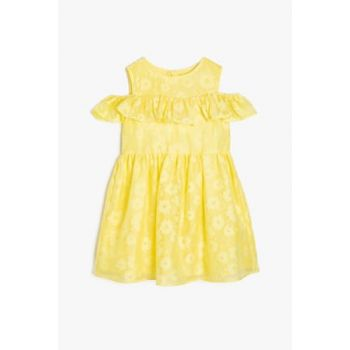 Yellow Girl Kid Shoulder Detailed Dress 9YKG87227OW