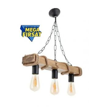 Authentic Wood Natural Billet Rope Chandelier 10958