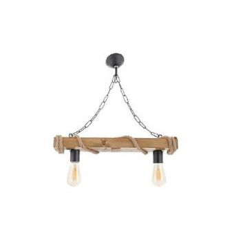 Authentic Wood Natural Log Rope 2 Piece Chandelier 10956