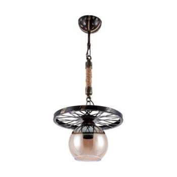 Sedef 9190-1P BPT Single Pendant Chandelier - BlackPatina