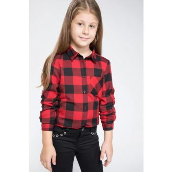 Red Girl Child Sleeve Lacing Detailed Plaid Shirt K0658A6.18AU.RD59 K0658A6.18AU.RD59