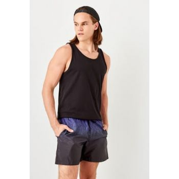 Navy Blue Men's Graphic Printed Sea Shorts TMNSS19FO0078
