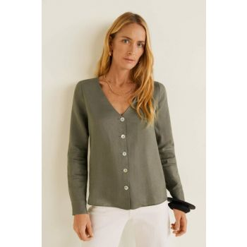 Women's Khaki Color Linen Blended Buttoned Blouse 43055736
