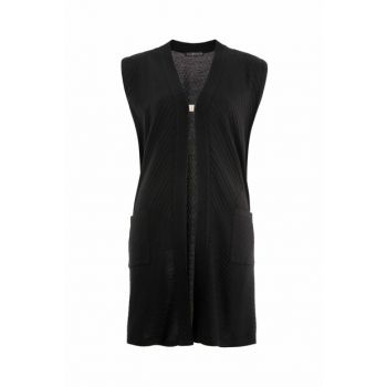 Women's Black Short Pockets Verev Vest 2408
