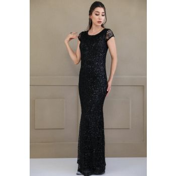 Women's Sequins Embroidered Fish Model Black Evening Dress ELB000136700