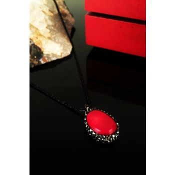 Women Natural Stone Coral Stone Rose Gold Plated Necklace Krb112 KRB112
